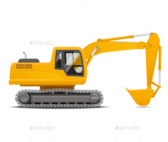 Excavator Vector Illustration - Industries Business