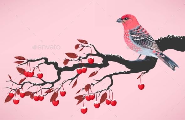 Pink Bird On Cherry Branch - Seasons Nature