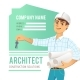 Architect In Helmet With Blueprints And Keys - GraphicRiver Item for Sale