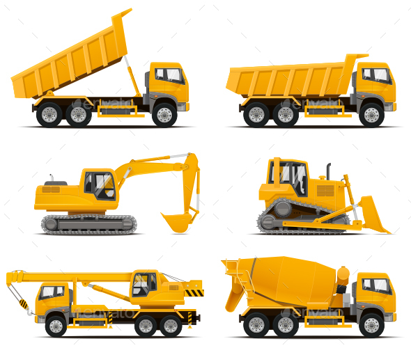 Construction Machinery Vector Set - Industries Business