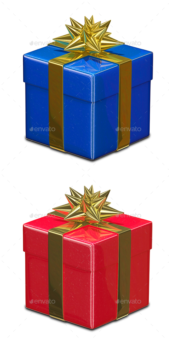 3D Illustration of Red and Blue Gift Box - Objects 3D Renders