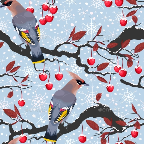 Birds And Cherry Tree Seamless - Christmas Seasons/Holidays