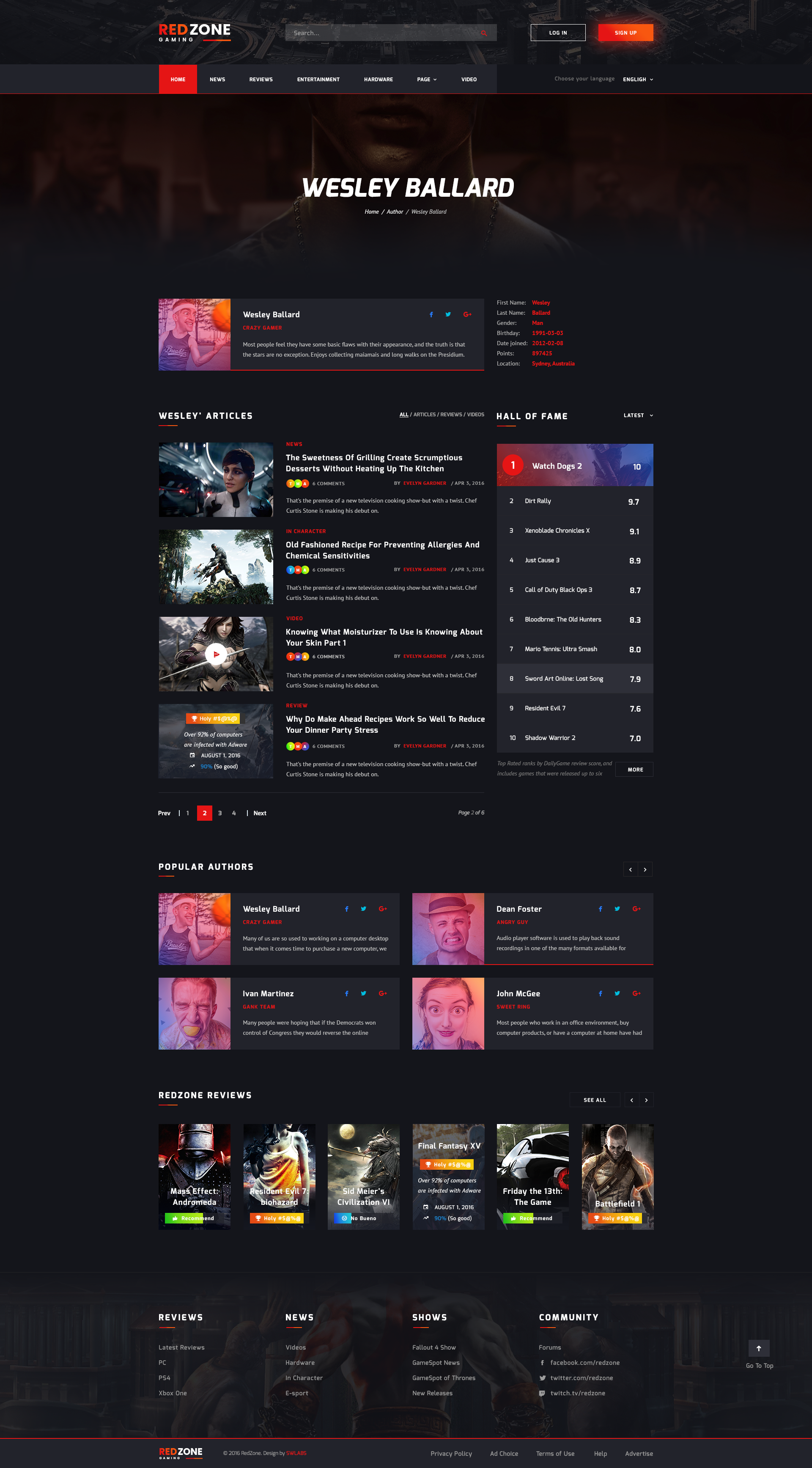 Red Zone - Game PSD Template (Blog, Review, Portal, Community) by ...