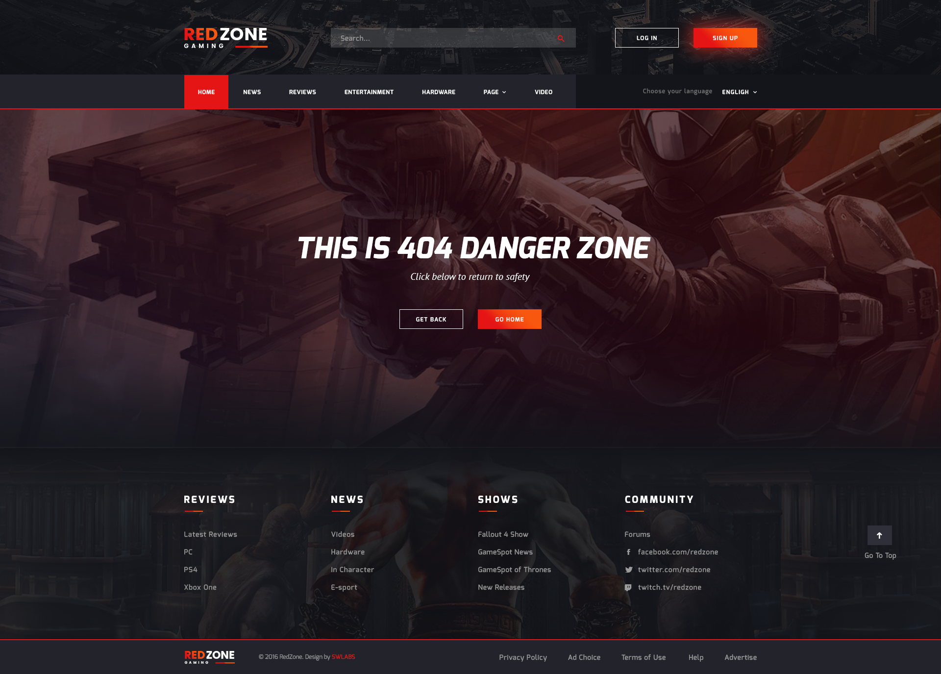 red zone game psd template blog review portal community by
