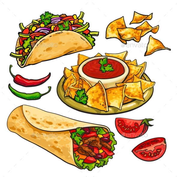 Set Of Traditional Mexican Food - Burrito, Taco - Food Objects