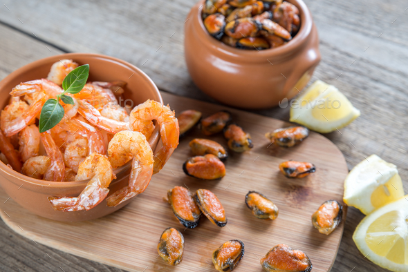 Fried shrimps and mussels - Stock Photo - Images