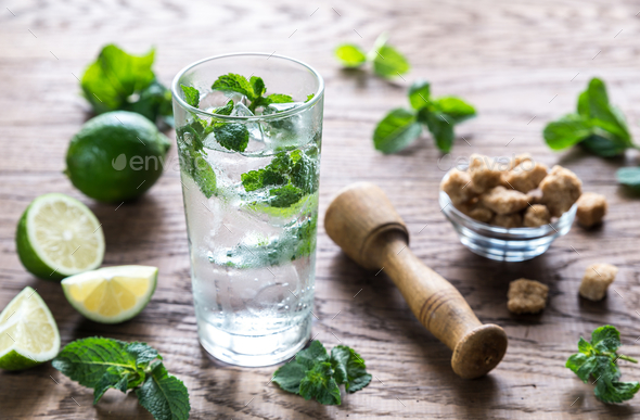 Glass of mojito with ingredients - Stock Photo - Images