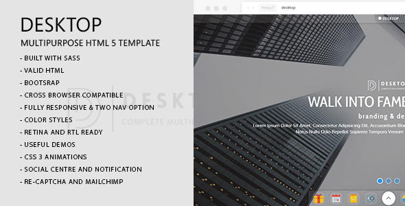 Desktop | Creative Agency, Portfolio, CV/Resume, Photography, Restaurant & Landing Template