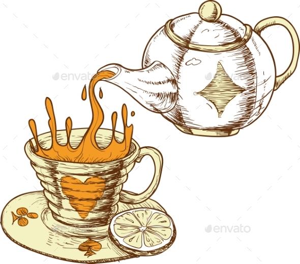 Tea Cup And Pot - Miscellaneous Vectors