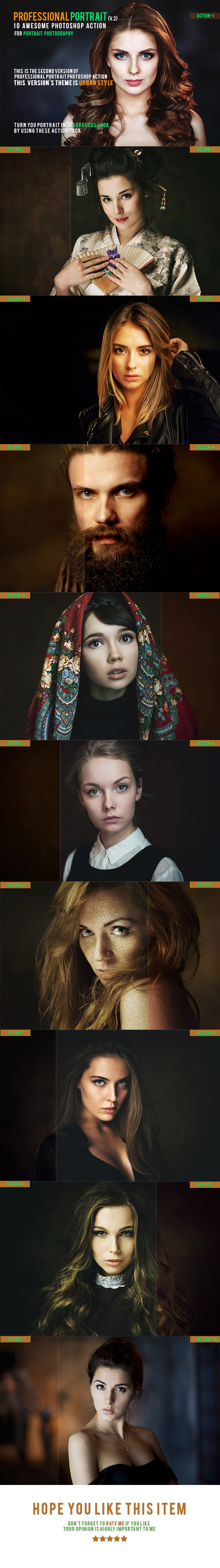 Professional Portrait (V.2) Photoshop Action - Photo Effects Actions