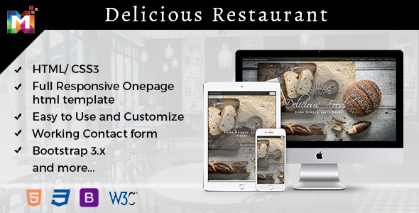 Responsive One page Restaurant Template - Restaurants & Cafes Entertainment