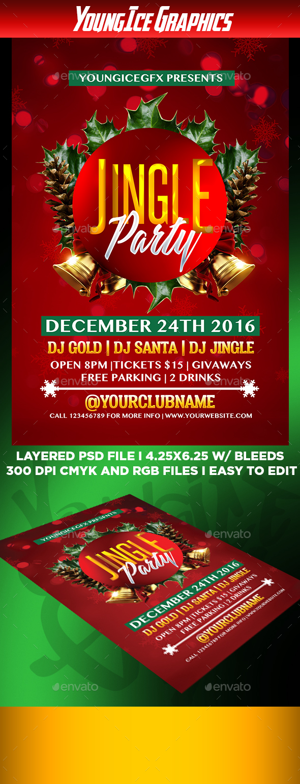 Jingle Party Flyer Template - Clubs & Parties Events