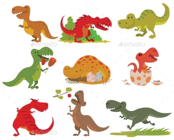 T-rex Dinosaur Vector Set. - Backgrounds Decorative