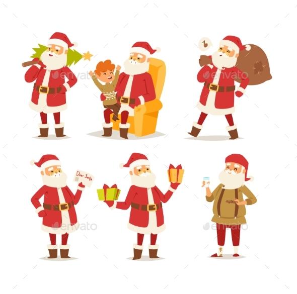 Christmas Santa Claus Vector Illustration. - Characters Vectors