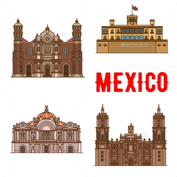 Tourist Landmarks And Sightseeings Of Mexico - Travel Conceptual