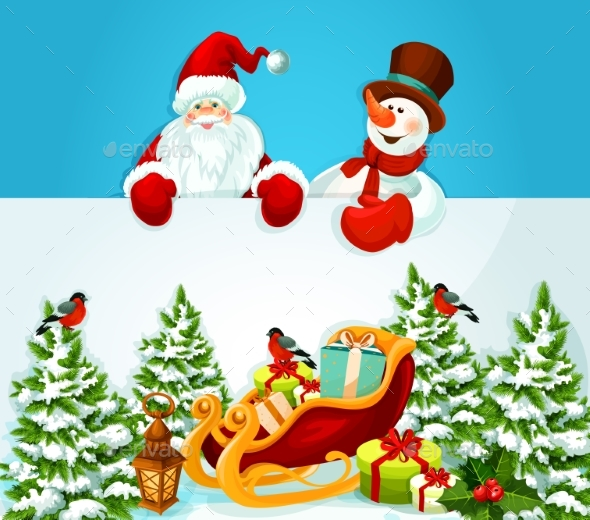 Christmas Card With Santa Claus, Snowman And Gift - Christmas Seasons/Holidays