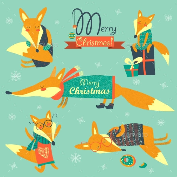 Set Of Cute Foxes - Christmas Seasons/Holidays