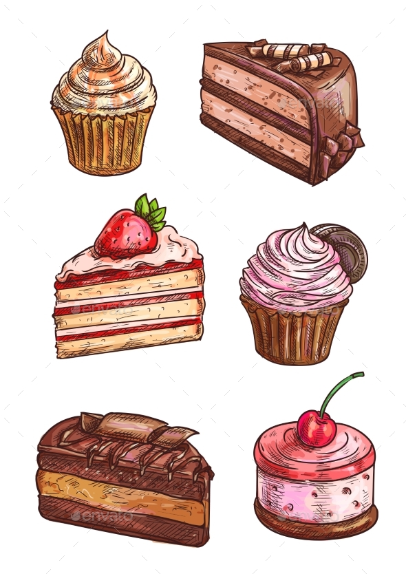 Patisserie Sweet Desserts Scketch Icons - Food Objects