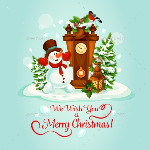 Christmas Holiday Poster With Snowman And Clock - Christmas Seasons/Holidays