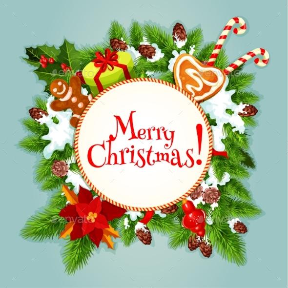 Christmas Tree, Gift, Candy Festive Poster Design - Christmas Seasons/Holidays