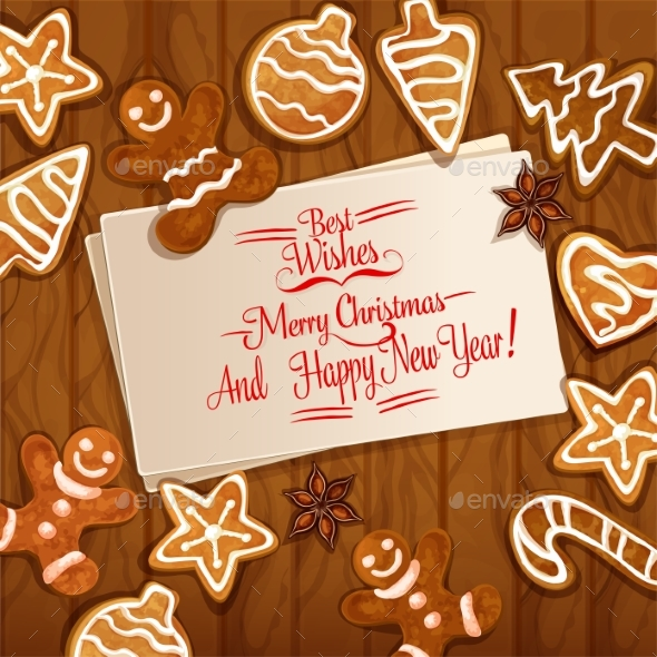 Christmas Gingerbread Cookie On Wooden Background - Christmas Seasons/Holidays