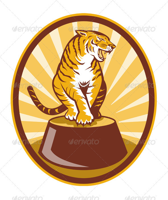 Tiger Sitting On Top Of Barrel - Animals Characters
