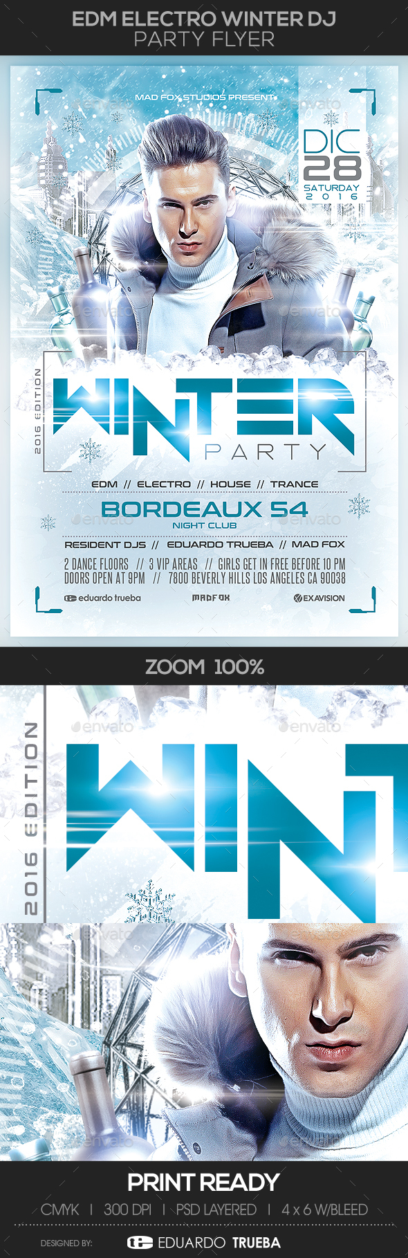 EDM Electro Winter Dj Party Flyer - Events Flyers