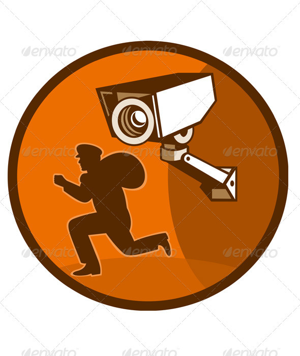 Burglar With Loot Running Security Camera - Characters Vectors