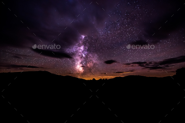 Milky Way over Craters of The Moon National Preserve - Stock Photo - Images