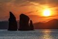 Beautiful Rocks in Pacific Ocean at Sunset