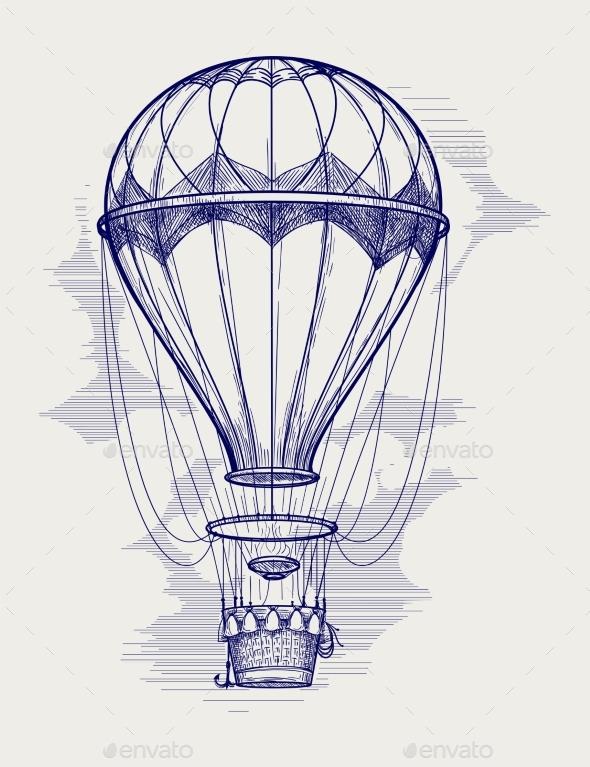 Hot Air Balloon Ball Pen Sketch - Miscellaneous Conceptual