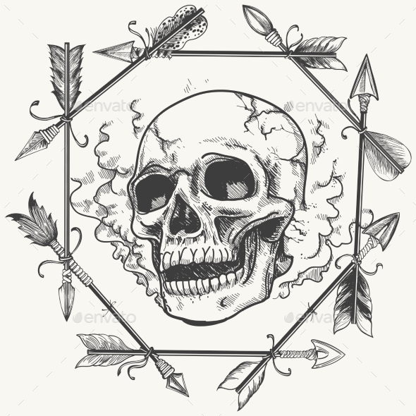 Sketch Smoke Skull And Arrows Frame - Miscellaneous Conceptual