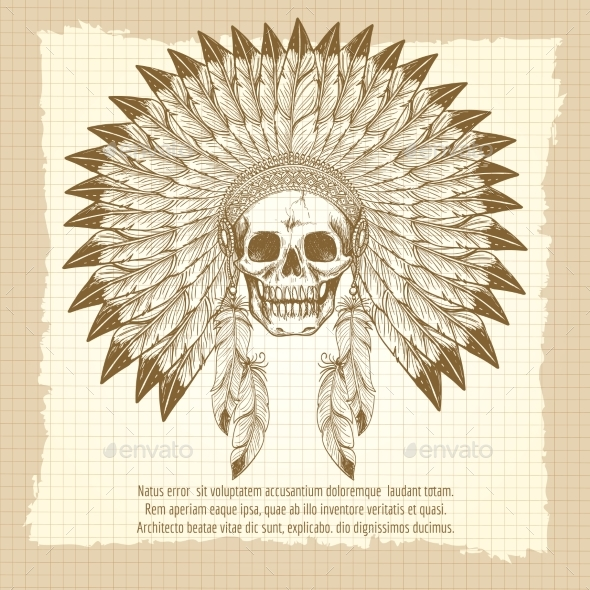 Vintage Skull In Feathers Headdress Poster - Miscellaneous Conceptual