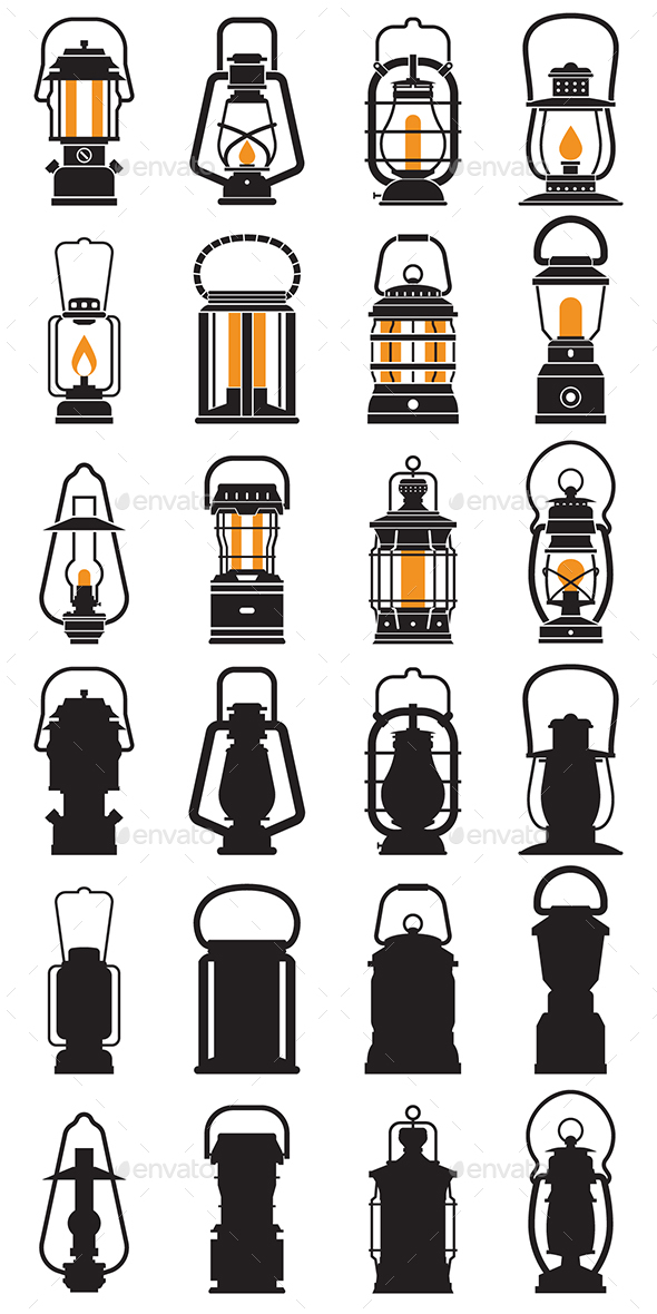 Vintage Camping Lantern Icons - Man-made Objects Objects