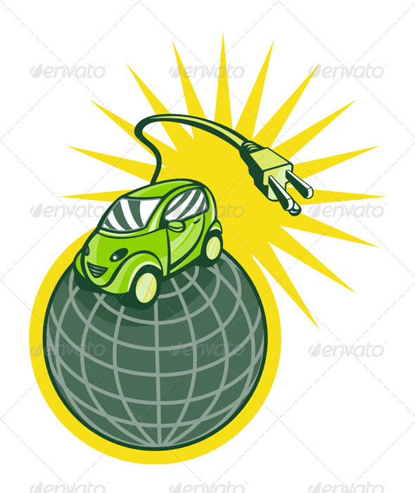 Green Eco Friendly Electric Car Plug - Objects Vectors