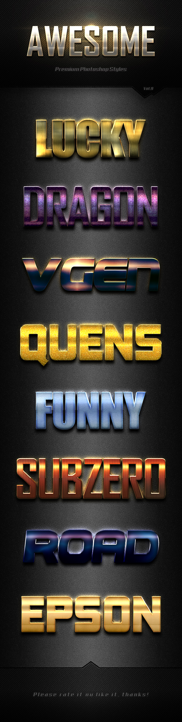 Photoshop Text Effects Vol.9 - Text Effects Styles