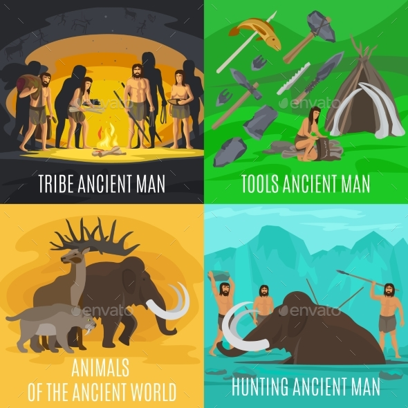 Ancient Prehistoric Stone Age Concepts - People Characters