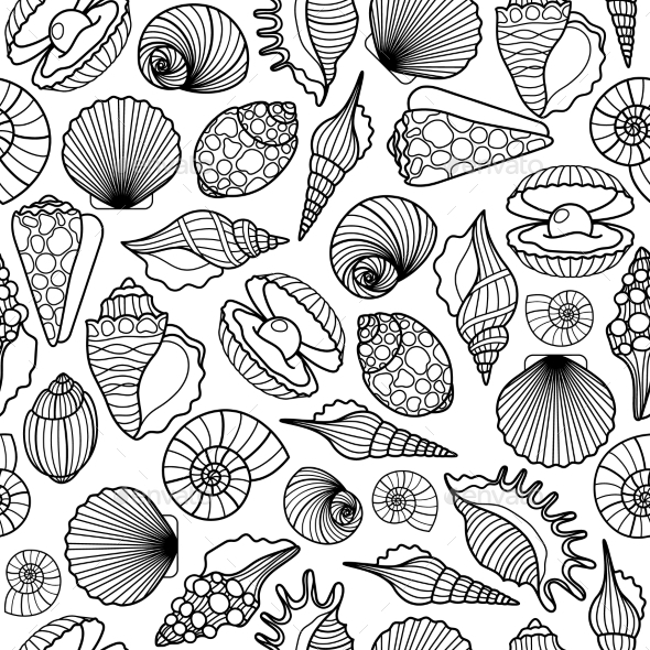 Sea Shells Black Seamless Pattern - Backgrounds Decorative
