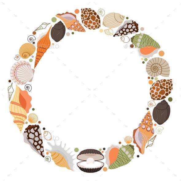 Marine Life Wreath Icon - Decorative Vectors