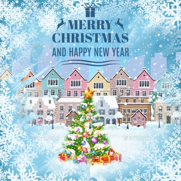 Christmas Postcard With Vintage  Street - Christmas Seasons/Holidays