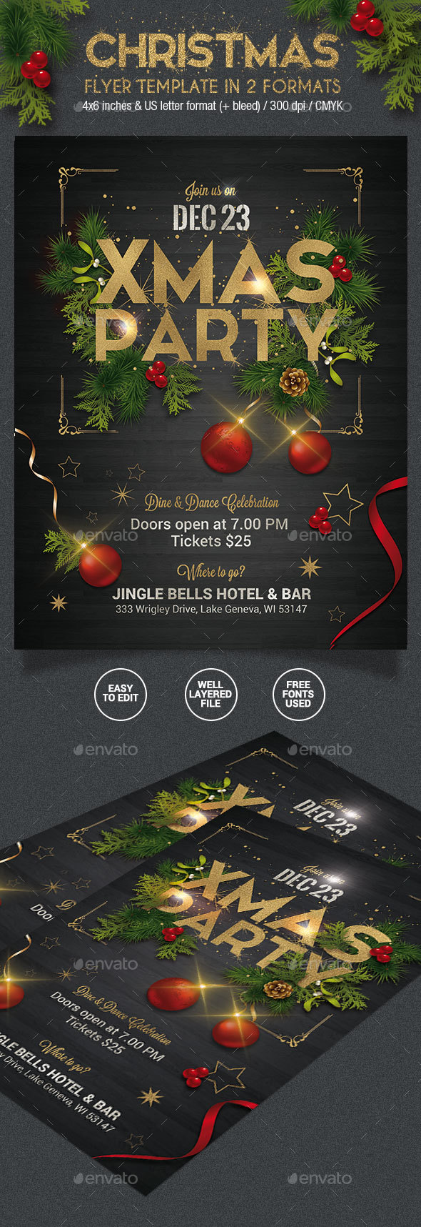 Christmas Party Flyer - 2 Formats - Holidays Events