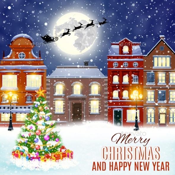 Christmas Winter City Street - Christmas Seasons/Holidays