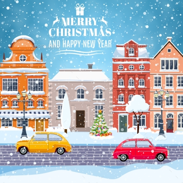 Winter City Street With Trees And Car - Christmas Seasons/Holidays