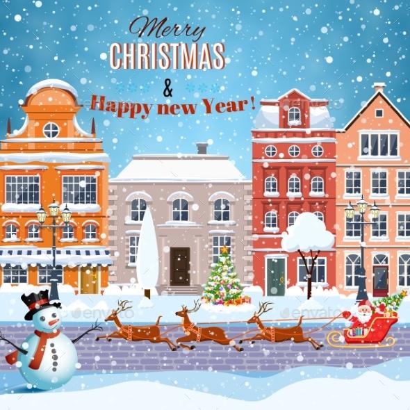 Christmas Santa Claus Riding On Sleigh - Christmas Seasons/Holidays