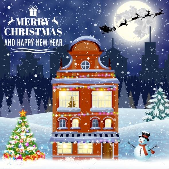 Cartoon Retro Merry Christmas Night Illustration - Christmas Seasons/Holidays