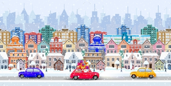 Panorama. Seamless Border With a Winter Cityscape - Christmas Seasons/Holidays