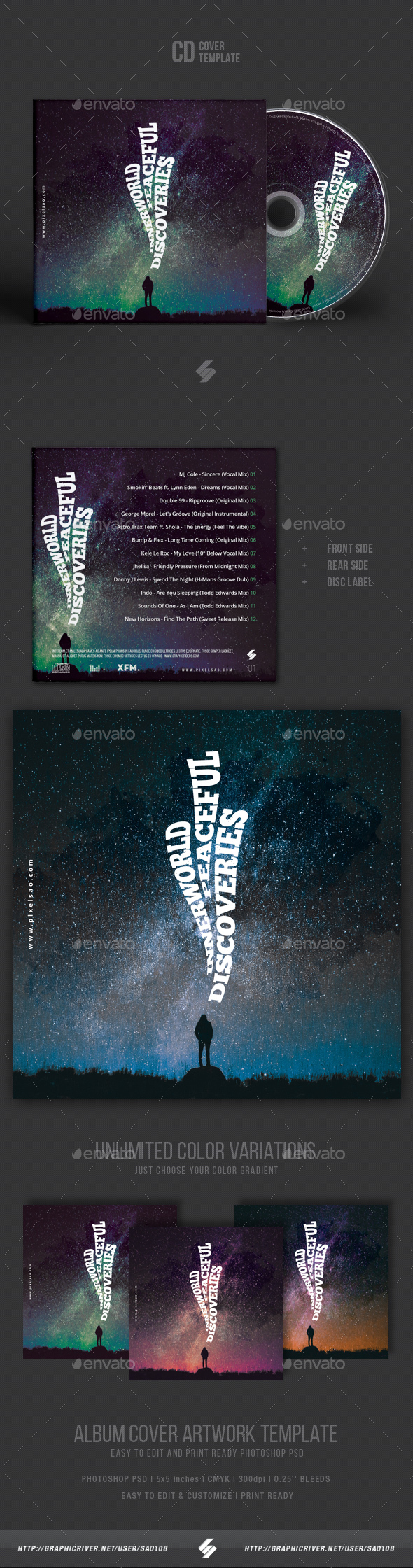 Inner World Discoveries - Creative CD Cover Artwork Template - CD & DVD Artwork Print Templates