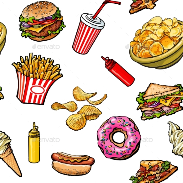 Sketch Hand Drawn Fast Food Seamless Pattern - Patterns Decorative