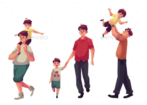 Dad With His Little Son, Playing And Walking - People Characters
