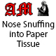 Nose Snuffing into Paper Tissue